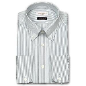 ワイシャツ Yシャツ メンズ 長袖 | LORDSON Crest | 綿100% 形態安定加工 スリム ネイビーダブルストライプ ボタンダウン おしゃれ|choyashirts