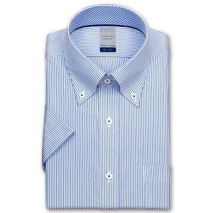 ワイシャツ Yシャツ メンズ 半袖 | LORDSON | 形態安定加工 ブルーのロンドンストライプ ボタンダウン おしゃれ|choyashirts