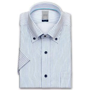ワイシャツ Yシャツ メンズ 半袖 | LORDSON | 形態安定加工 ブルートーンのピンストライプ ボタンダウン|choyashirts