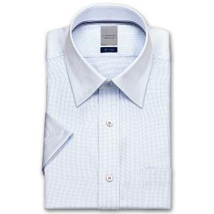 ワイシャツ Yシャツ メンズ 半袖   LORDSON   形態安定加工 ブルーのヘアラインストライプ ショートレギュラー choyashirts