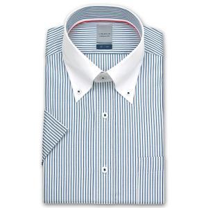 ワイシャツ Yシャツ メンズ 半袖 | LORDSON | 形態安定加工 ブルーストライプ クレリック ボタンダウン|choyashirts