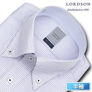 ワイシャツ Yシャツ メンズ 半袖 | LORDSON | 形態安定加工 ブルーダブルストライプ ボタンダウン|choyashirts