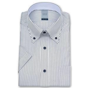 ワイシャツ Yシャツ メンズ 半袖 | LORDSON | 形態安定加工 ネイビー ペンシルストライプ ボタンダウン|choyashirts
