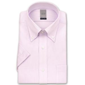 ワイシャツ Yシャツ メンズ 半袖 | LORDSON | 形態安定加工 パープルストライプ ボタンダウン|choyashirts