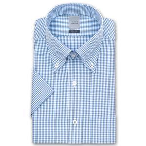 ワイシャツ Yシャツ メンズ 半袖 | LORDSON | 形態安定加工 ブルーギンガムチェック ボタンダウン|choyashirts