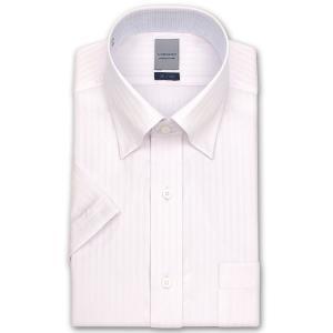 ワイシャツ Yシャツ メンズ 半袖 LORDSON 形態安定加工 ピンクドビーストライプ スナップダウン おしゃれの商品画像|ナビ