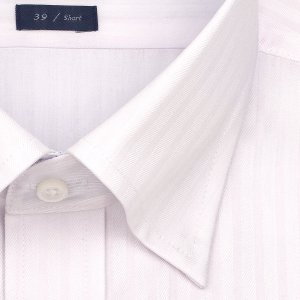 ワイシャツ Yシャツ メンズ 半袖 | LORDSON | 形態安定加工 ピンクドビーストライプ スナップダウン おしゃれ|choyashirts|03
