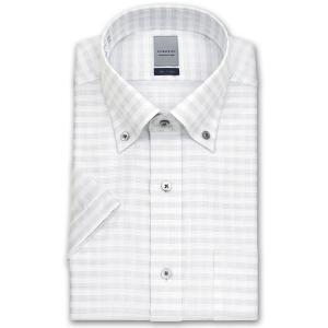 ワイシャツ Yシャツ メンズ 半袖 | LORDSON | 形態安定加工 グレーチェック ボタンダウン|choyashirts
