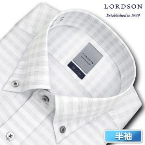 ワイシャツ Yシャツ メンズ 半袖 | LORDSON | 形態安定加工 グレーチェック ボタンダウン おしゃれ|choyashirts|02