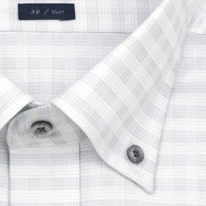 ワイシャツ Yシャツ メンズ 半袖 | LORDSON | 形態安定加工 グレーチェック ボタンダウン おしゃれ|choyashirts|03