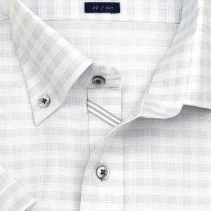 ワイシャツ Yシャツ メンズ 半袖 | LORDSON | 形態安定加工 グレーチェック ボタンダウン おしゃれ|choyashirts|04