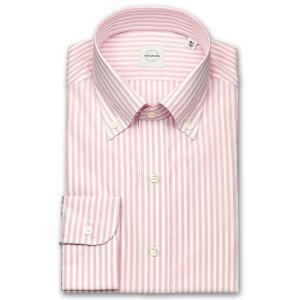 ワイシャツ カジュアルシャツ メンズ 長袖 | UNSQUARE | 綿100% 標準体 ピンク ロンドンストライプ ボタンダウン おしゃれ|choyashirts