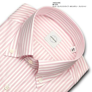 ワイシャツ カジュアルシャツ メンズ 長袖 | UNSQUARE | 綿100% 標準体 ピンク ロンドンストライプ ボタンダウン おしゃれ|choyashirts|02