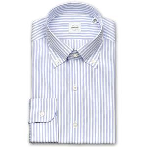 ワイシャツ カジュアルシャツ メンズ 長袖 | UNSQUARE | 綿100% 標準体 ブルー ロンドンストライプ ボタンダウン おしゃれ|choyashirts