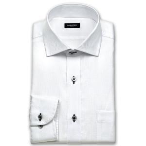 ワイシャツ Yシャツ メンズ 長袖 | renoma PARIS | 綿100% 形態安定加工 白ドビーマイクロチェック ワイドカラー おしゃれ|choyashirts