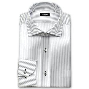 ワイシャツ Yシャツ メンズ 長袖 | renoma PARIS | 綿100% 形態安定加工 グレーのペンシルストライプ ワイドカラー おしゃれ|choyashirts