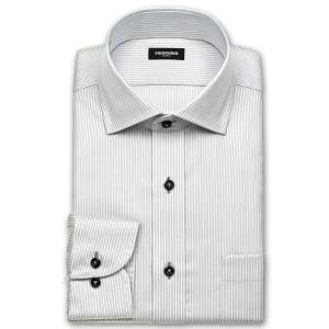 ワイシャツ Yシャツ メンズ 長袖 | renoma PARIS | 綿100% 形態安定加工 グレーのロンドンストライプ ワイドカラー おしゃれ|choyashirts