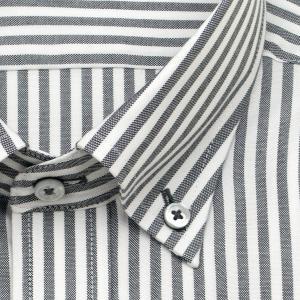 ワイシャツ Yシャツ メンズ 長袖 | renoma PARIS | 綿100% 形態安定加工 ブラックのロンドンストライプ ボタンダウン おしゃれ|choyashirts|03