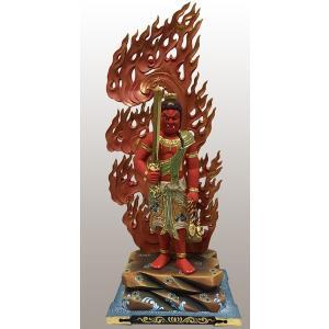 入念に彩色を施された力強くも華麗な、酉(とり)年の守護本尊でもある不動明王像です。  ▼材質 木地、...