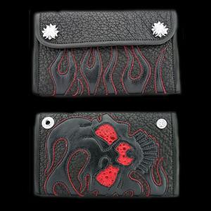 TRAVIS WALKER(トラヴィスワーカー):Large 3 Fold Wallet/Shark/#13 Flame Skull(ラージ3ホールドウォレット/シャーク/#13フレイムスカル)|chrono925
