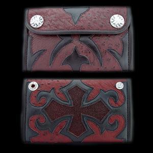 TRAVIS WALKER(トラヴィスワーカー):Large 3 Fold Wallet/Ostrich/#11 Tribal Cross(ラージ3ホールドウォレット/オーストリッチ/#11トライバル...