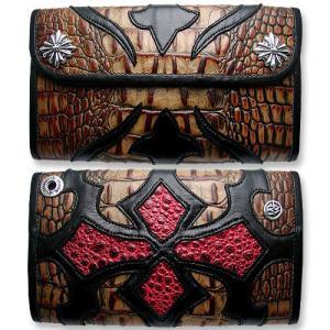 TRAVIS WALKER:Large 3 Fold Wallet/Faux Alligator/#12 Tribal Cross(ラージ3ホールドウォレット/型押しアリゲーター/#12トライバルクロス)|chrono925