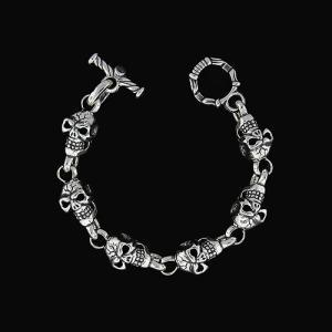 TRAVIS WALKER/DOUBLE CROSS(トラヴィスワーカー/ダブルクロス):Skull Bracelet/6 Skull(スカルブレスレット/6スカル)|chrono925