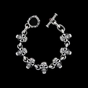 TRAVIS WALKER/DOUBLE CROSS(トラヴィスワーカー/ダブルクロス):Side by Side Skull Bracelet/7 Skull(サイドバイサイドスカルブレスレット/7スカル)|chrono925