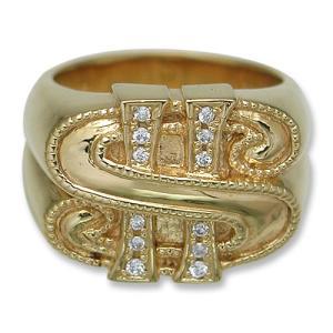 KING LIMO(キングリモ):KL Doller Ring/18K Gold Plate w/CZ(KLダラーリング/18Kゴールドコーティングw/CZ)|chrono925