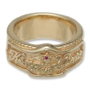KING LIMO(キングリモ):KL Emblem Ring/18K Gold Plate w/Ruby(KLエンブレムリング/18Kゴールドコーティングw/ルビー)|chrono925