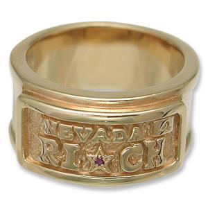 KING LIMO(キングリモ):Rich Plate Ring/18K Gold Plate w/Ruby(リッチプレートリング/18Kゴールドコーティングw/ルビー)|chrono925