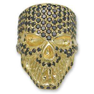 KING LIMO(キングリモ):King Head Ring/18K Gold Plate w/Pave Black CZ(キングヘッドリング/18Kゴールドコーティングw/パヴェブラックCZ)|chrono925