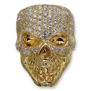 KING LIMO(キングリモ):King Head Ring/18K Gold Plate w/Pave CZ(キングヘッドリング/18Kゴールドコーティングw/パヴェCZ)|chrono925