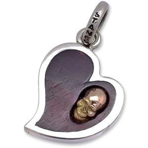 STANLEY GUESS(スタンリーゲス):Lopsided Heart Pendant w/18K Gold Skull Inlaid(ロップサイドハートペンダントw/18Kゴールドスカルインレイド)|chrono925