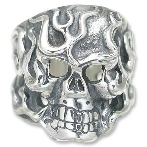 TRAVIS WALKER/DOUBLE CROSS(トラヴィスワーカー/ダブルクロス):Flaming Original Skull Ring(フレイミングオリジナルスカルリング)|chrono925
