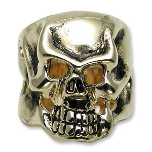 TRAVIS WALKER/DOUBLE CROSS(トラヴィスワーカー/ダブルクロス):Skull Ring/18K Yellow Gold(スカルリング/18Kイエローゴールド)|chrono925