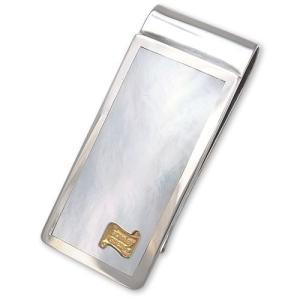 1 Peice WMOP Inlaid w/14K Gold Small Logo Inlaid Money Clip/Large(1ピースホワイトマザーオブパールインレイドw/14Kゴールドロゴマネークリップ/ラージ)|chrono925
