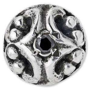 【STANLEY GUESS スタンリーゲス Earring イヤリング ピアス】フィリグリーボタンイヤリングw/ブラックダイヤモンド【送料無料】|chrono925