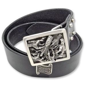 STANLEY GUESS(スタンリーゲス):1 Piece Leather Belt w/Multi Talon Square Buckle(1ピースレザーベルトw/マルチタロンスクエアバックル)|chrono925