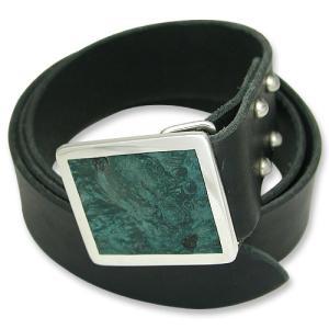 STANLEY GUESS(スタンリーゲス):1 Piece Leather Belt w/Square Wood Buckle(1ピースレザーベルトw/スクエアウッドバックル)|chrono925