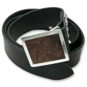 STANLEY GUESS(スタンリーゲス):1 Piece Leather Belt w/Square Wood Buckle w/Armor Studs(1ピースレザーベルトw/スクエアウッドバックルw/アーマースタッズ)|chrono925