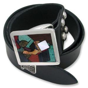 STANLEY GUESS:1 Piece Leather Belt w/Square Multi Wood Buckle w/Armor Studs(1ピースレザーベルトw/スクエアマルチウッドバックルw/アーマースタッズ)|chrono925