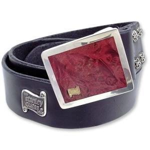Leather Belt w/Square Wood Buckle w/18K Gold Logo w/Filigree Studs(レザーベルトw/スクエアウッドバックルw/18Kゴールドロゴw/フィリグリースタッズ)|chrono925