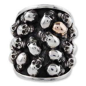 STANLEY GUESS(スタンリーゲス):Multi Skull Oval Ring w/1 Small Skull 14K Gold(マルチスカルオーバルリングw/1スモールスカル14Kゴールド)|chrono925