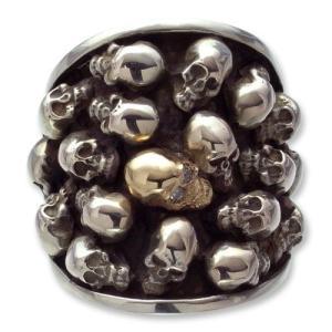 Multi Skull Oval Ring w/1 Small Skull 14K Gold w/Diamond Eyes(マルチスカルオーバルリングw/1スモールスカル14Kゴールドw/ダイヤモンドアイズ)|chrono925