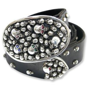 STANLEY GUESS:Multi Piece Leather Belt w/Multi Skull Oval Buckle Custom(マルチピースレザーベルトw/マルチスカルオーバルバックルカスタム)|chrono925