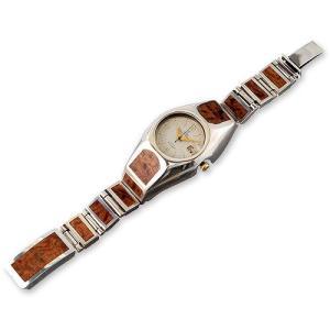 Wood/Silver Watch Case Short&Narrow Links w/Wood Inlaid Box Clip(ウッド/シルバーウォッチケースショート&ナローリンクw/ウッドボックスクリップ)|chrono925