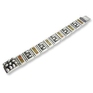 Wide&Narrow 5 Skull Link 6 Wood Link w/Multi Skull Box Clip Bracelet(ワイド&ナロー5スカル/6ウッドリンクw/マルチスカルクリップブレスレット)|chrono925