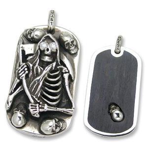 2 Sided Wood w/Small Skull Inlaid/Grim Reaper w/Small Skulls Dog Tag w/Stone(2サイドウッドw/スカルインレイド/グリムリーパードッグタグw/ストーン)|chrono925