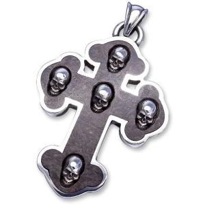 STANLEY GUESS(スタンリーゲス):Wood Inlaid Guns Cross w/Skull Inlaid Pendant/Small(ウッドインレイドガンズクロスw/スカルインレイドペンダント/スモール)|chrono925